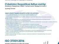 O'zbekiston Respublikasi Adliya vazirligi ISO 37001:2016(E) standart sertifikatini qo'lga kiritdi